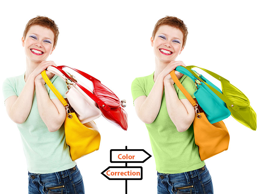 Woman holding bags with colors corrected by Image editing