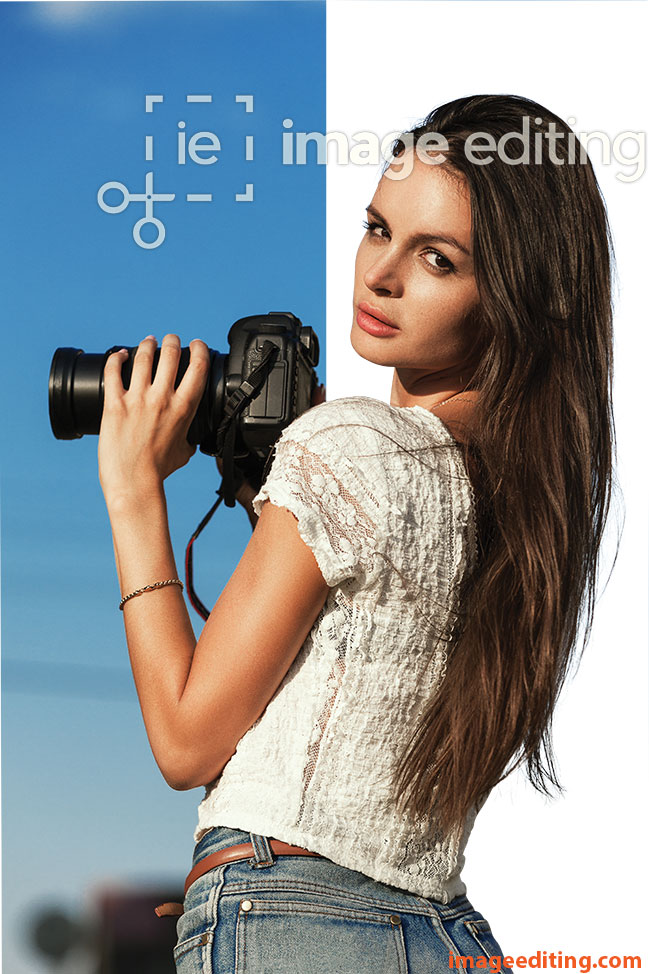 Girl standing with camera with hair extracted from backgorund