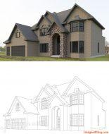 Line vector art of a house