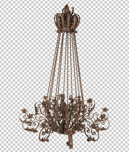 brass chandelier with background removed