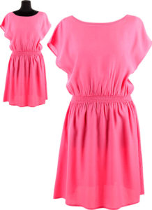 Woman pink dress with and without montage