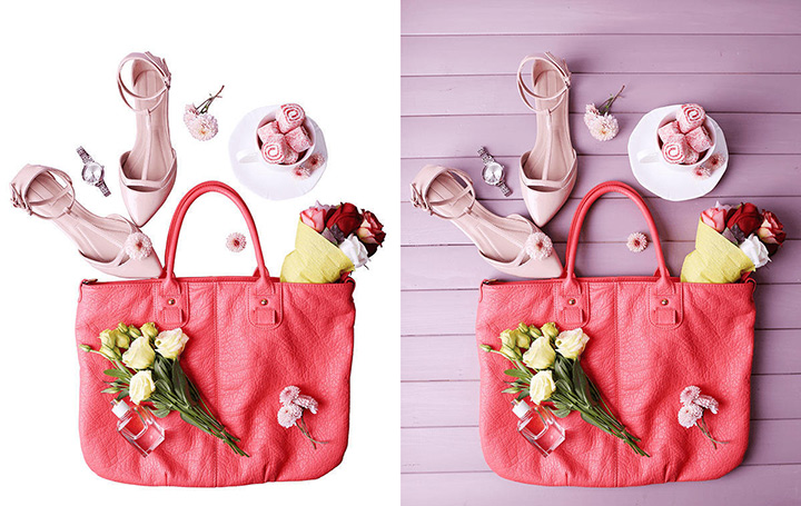 Woman items inside bag with and without background