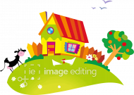 Small house with cow and chicken vector image