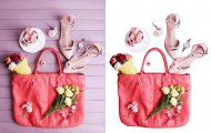woman bag assorted items with and without deep etch image editing