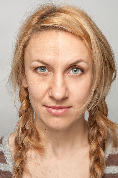 old lady face wrinkle retouch before and after effects
