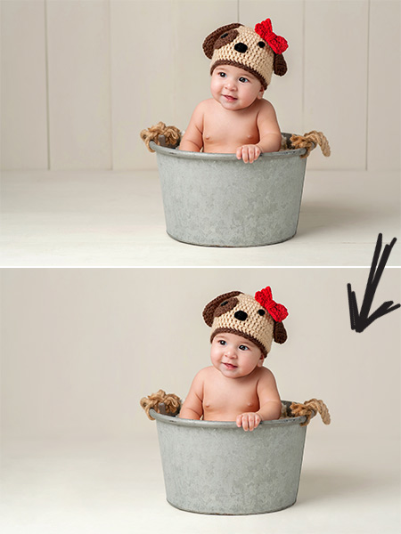 Before and after image of baby inside bucket photo