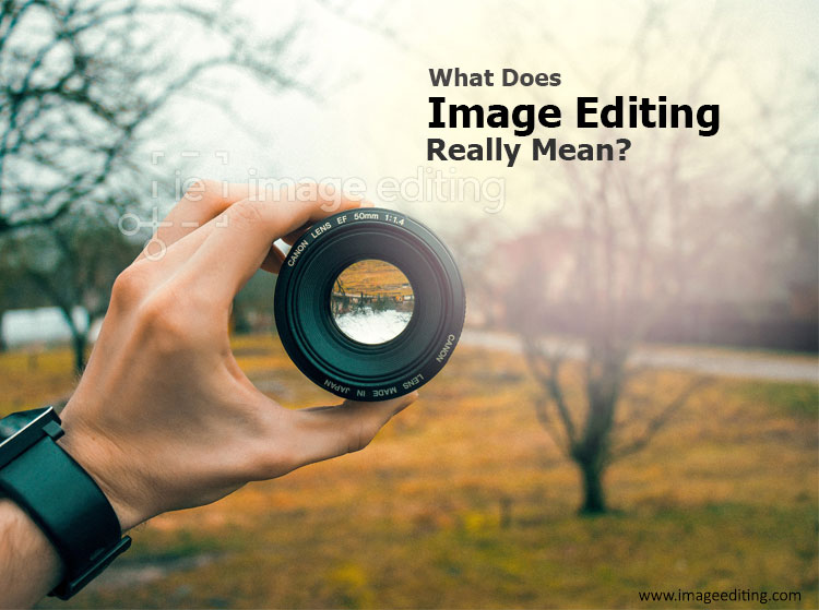 Camera lens holding by a man hand image edited by imageediting