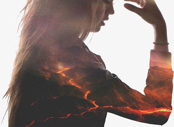 Girl photo manipulated with volcano background