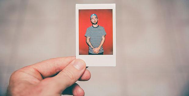 Polaroid image of man