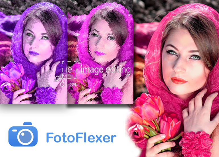 Different Effects of a Female Model with Fotoflexer App