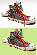 ImageEditing created natural looking original shaodw for men's superhero converse