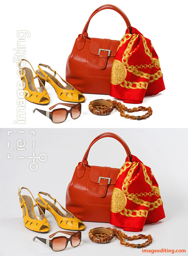Women red bag, tied red scarf, yellow heels, wooden accesories, and brown sunglasses