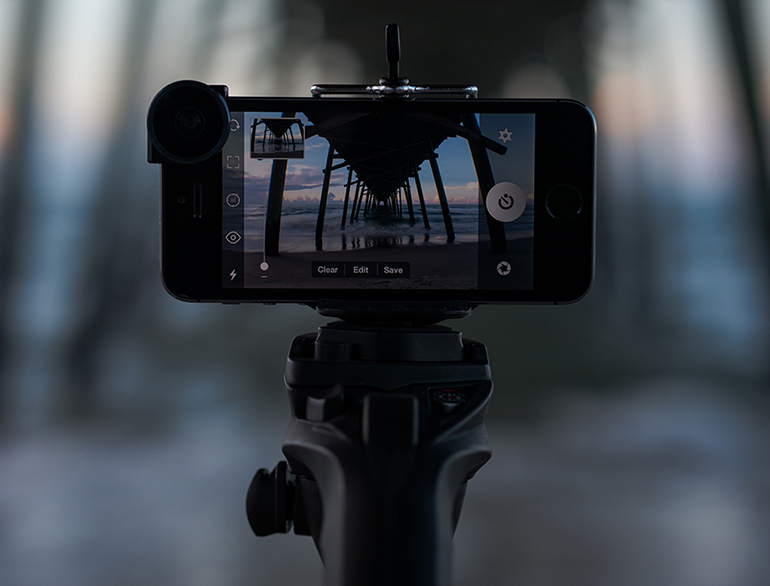 Smartphone in a Tripod for Photography