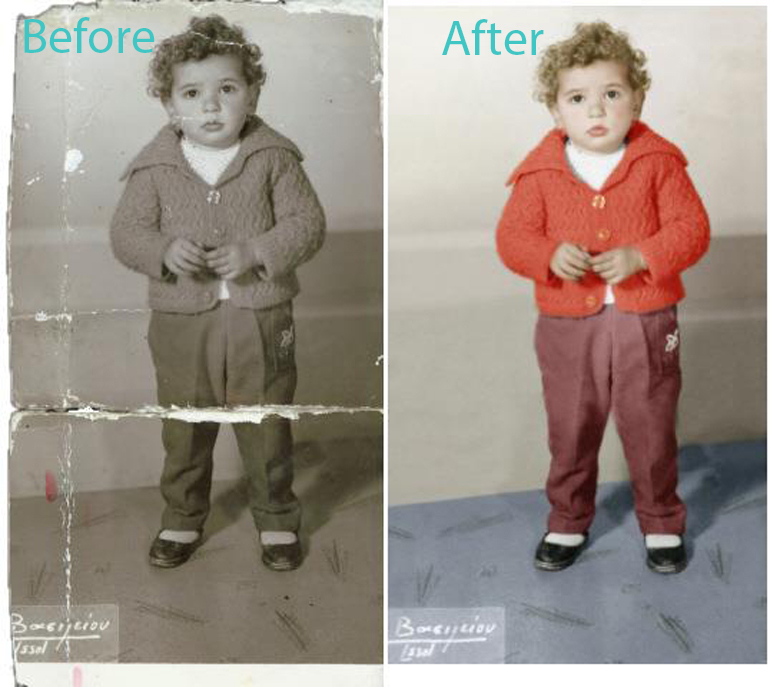Before and After Version of an Album of a Old Photos