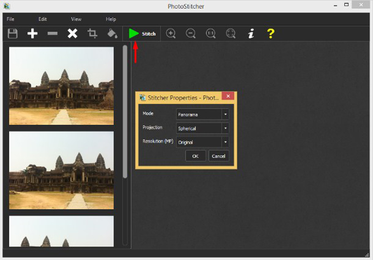 Interface of a PhotoStich Editor