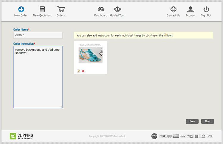 screenshot of ClippingPathService App Dashboard