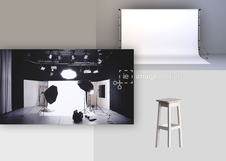 Stools, Backdrop and Lighting Accessories in a Studio