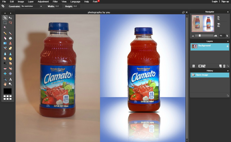 Drop Shadow Before and After Image of Bottle