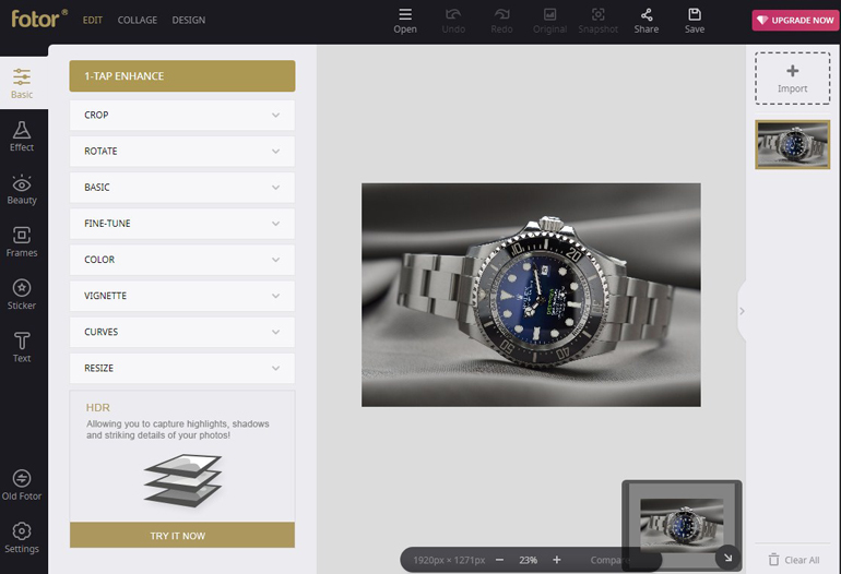 Image of a Watch in Fotor Editor