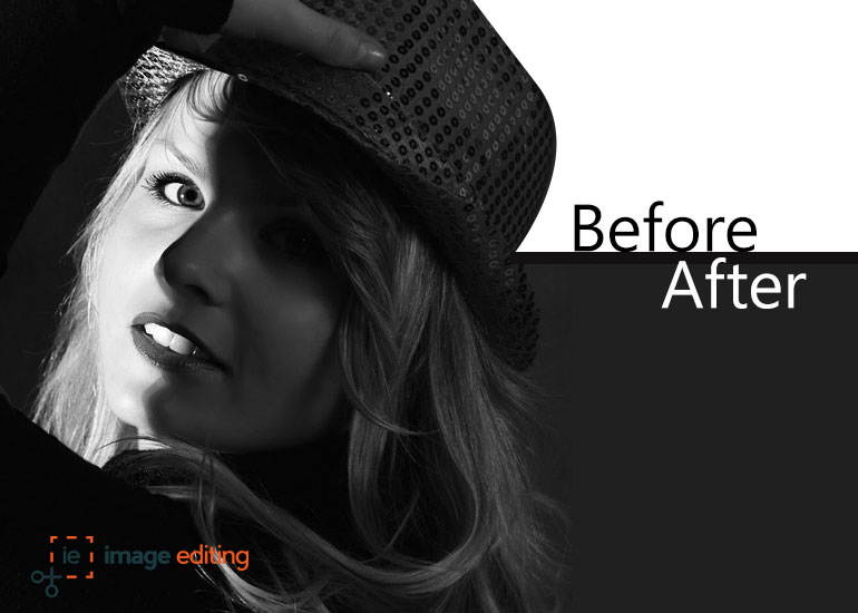 Before and After Version of a Girl while Removing Background