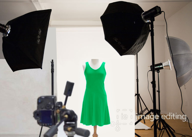 Mannequin on a Green Top in a Photography Studio
