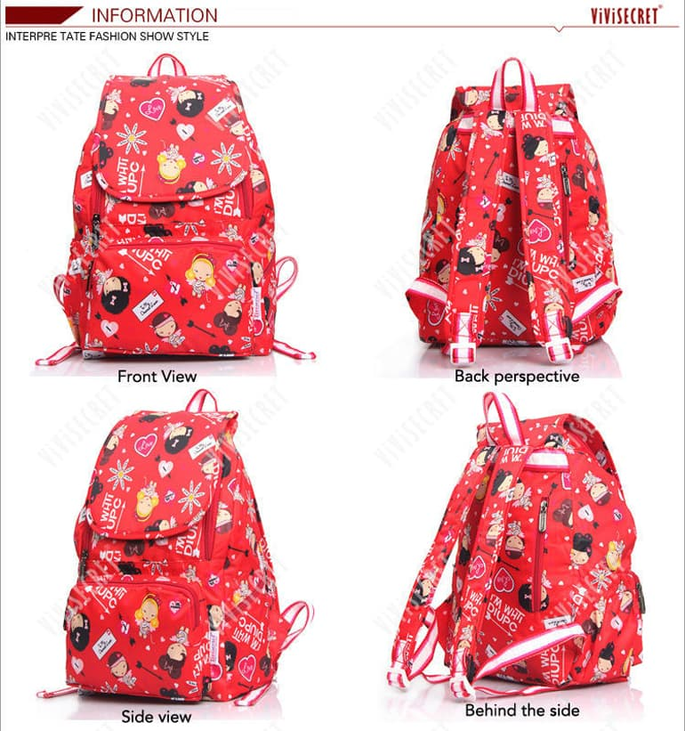 Front, Back, Side and Behind the Side View of a Colorful Red bag