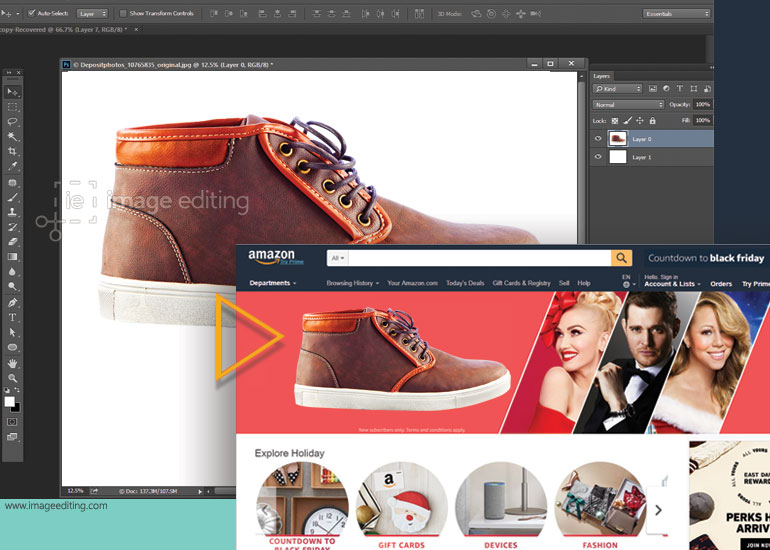 Screenshot of a Shoe in Photoshop and on a Amazon Website