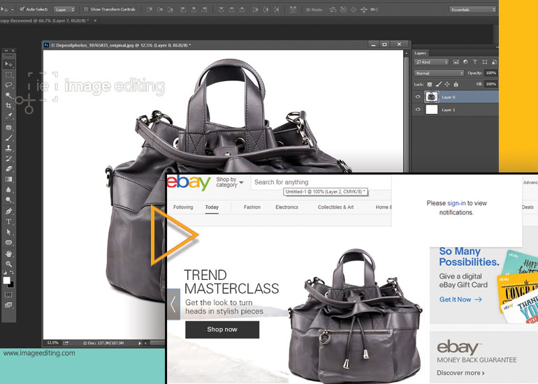 Screenshot of a Bag in Photoshop and on a Ebay Website