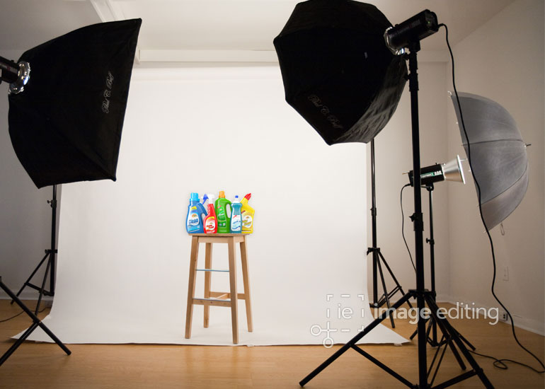 Photography of some Dry Cleaning Products in a Studio