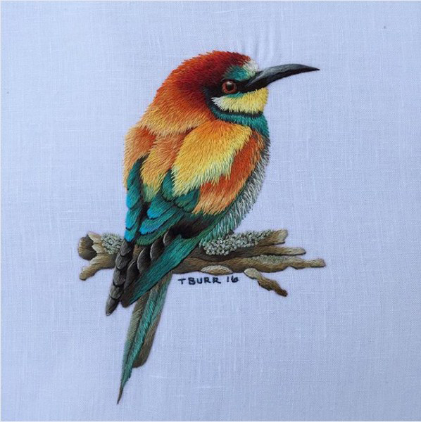 colorful bird embroidery by Trishburr