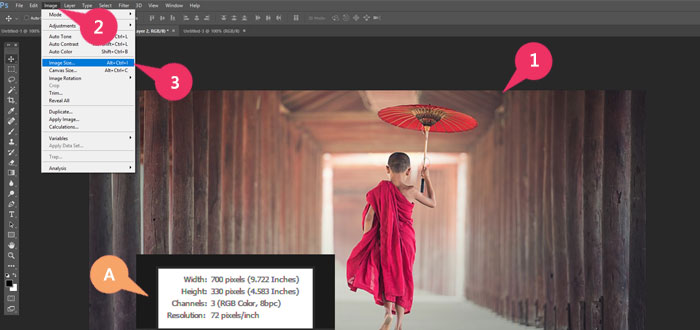 steps to reach Image Image size on Photoshop