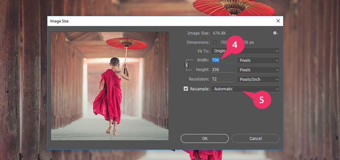 Showing the value width & height of an image