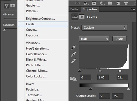 adjusting the tone of black and white on the Levels