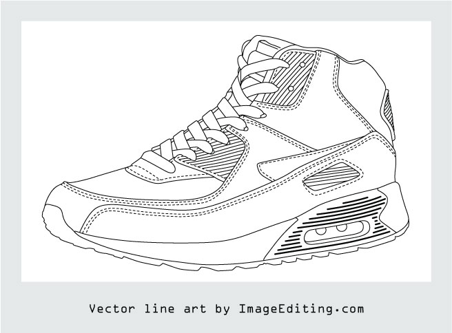 Product photo to vector line art.