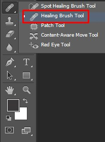 Selecting the Healing Brush from brush tool