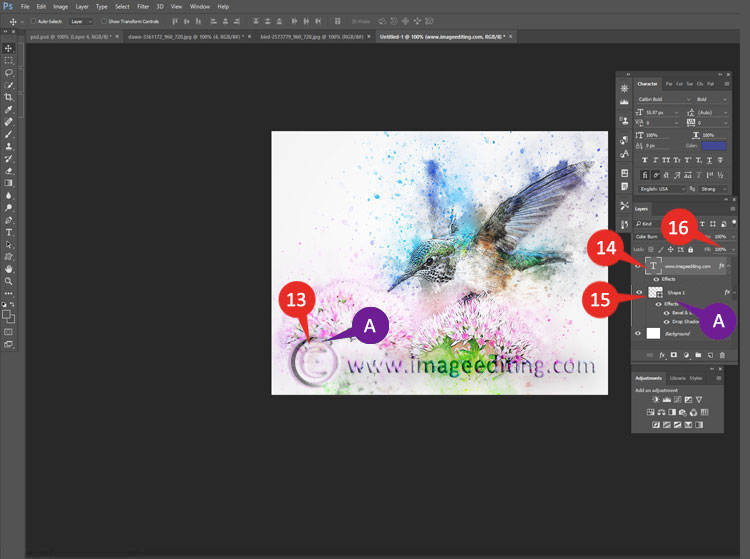 Steps to Lighten the Logo & Copyright Symbol so it look transparent