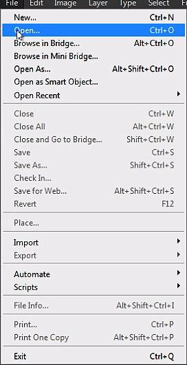 Select File menu and choose Open shown