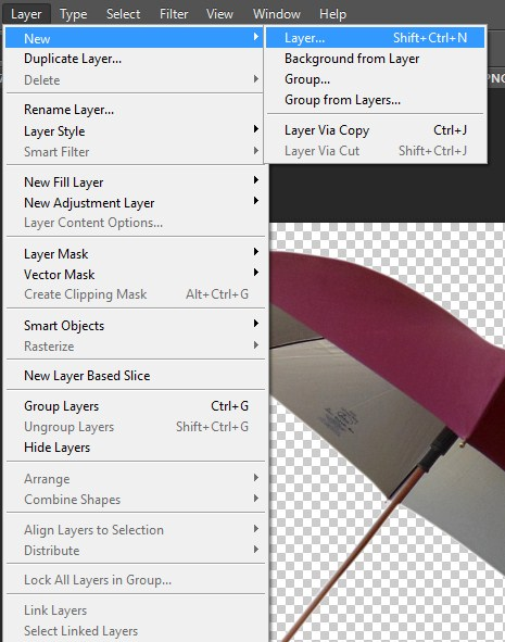 Select Layer menu-New-Layer option