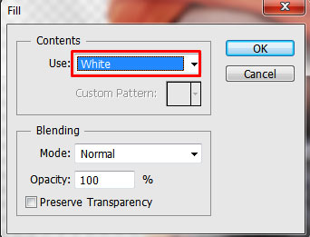 From Fill dialog box choose White