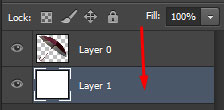 drag-and-drop the created layer below the main layer shown by an arrow