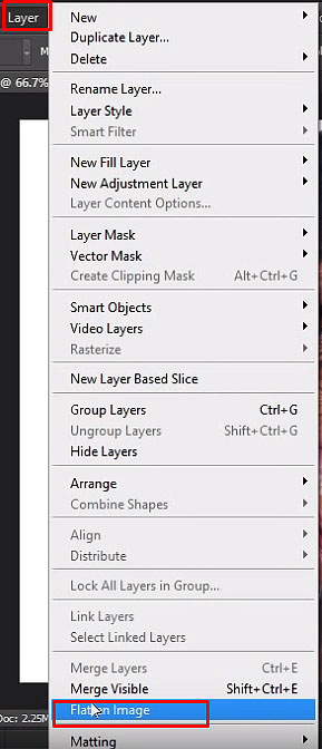 Select Layer menu and then Flatten image