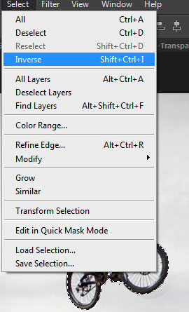 Choose Select from the menu bar and then Inverse