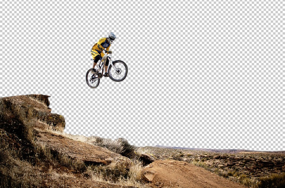 A man on cycle flying in mid air with transparent background