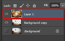 The new image is on top of the layer