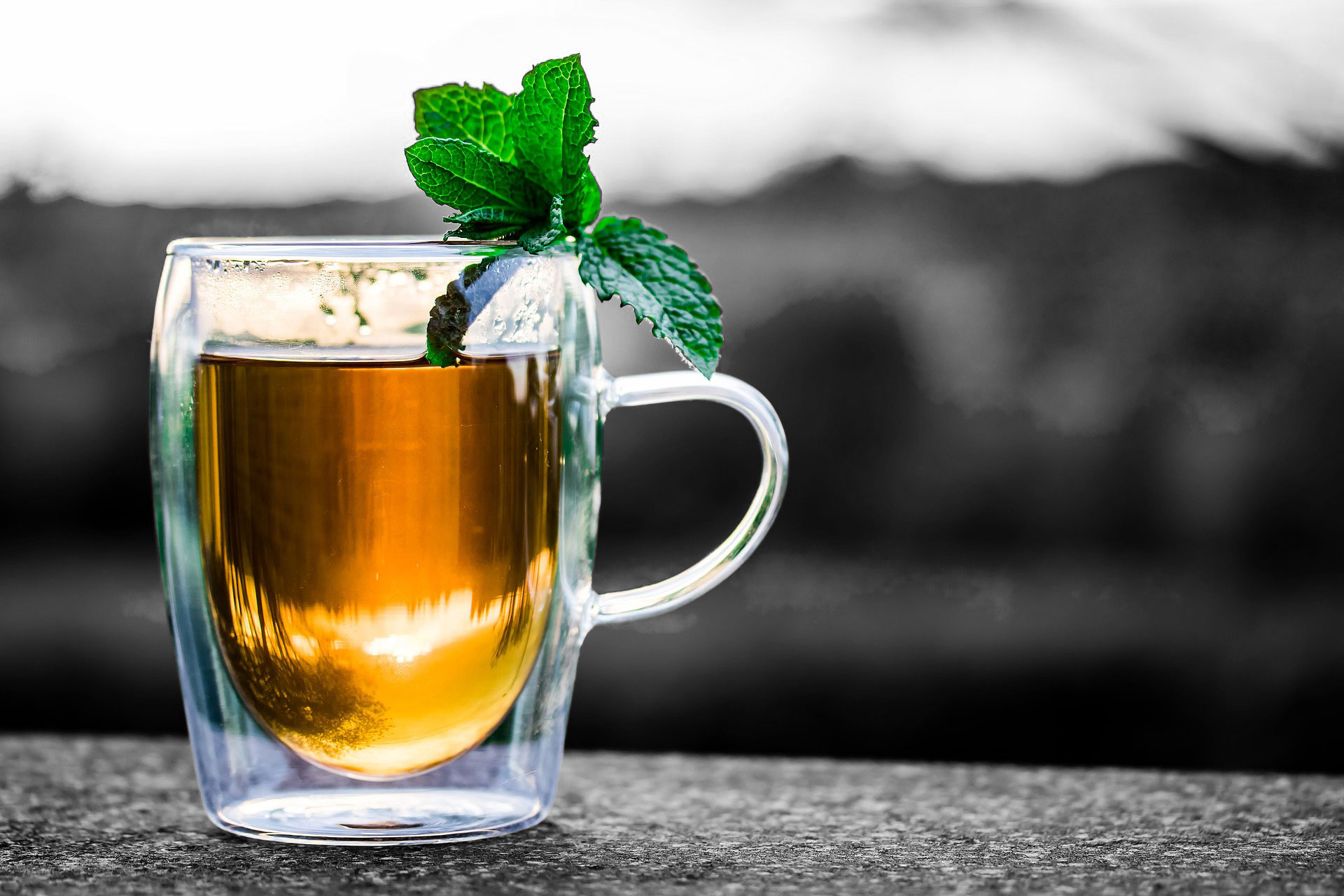 Black and White Background with colorful mug with tea and basil on top of the mug