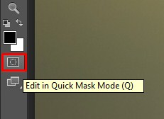 Position of the Quick Mask button is being indicated in the tool bar