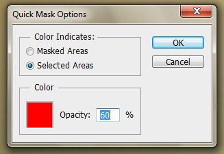 Quick Mask option box appears and we mark Selected Areas with opacity 60%