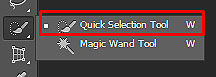Quick Selection tool is marked