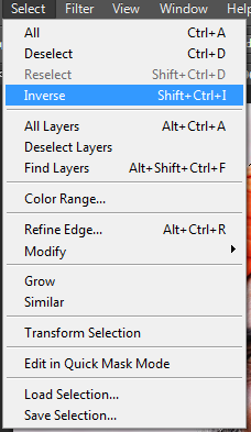 Choose Select and then Inverse