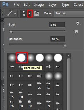 Hard brush tool is being selected